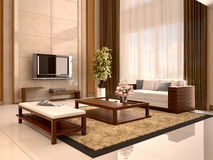 Modern design living room warm colors. Royalty Free Stock Photo