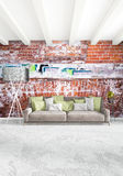 Modern loft interior bedroom or living room with eclectic wall with space. 3D rendering. Modern design loft interior bedroom or living room with eclectic wall Royalty Free Stock Image