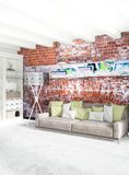 Modern loft interior bedroom or living room with eclectic wall with space. 3D rendering. Stock Photography