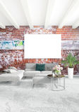 Vertical modern interior bedroom or living room with eclectic wall and empty frame for copyspace drawing. 3D rendering. Modern design loft interior bedroom or Stock Image