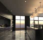 Modern Design Luxurious Kitchen Interior. A 3d rendering of Modern Design Luxurious Kitchen Interior Royalty Free Stock Images
