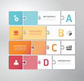 Modern Design Minimal jigsaw style infographic tem. Plate Royalty Free Stock Photos