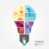 Modern Design Minimal style infographic template with light bulb Royalty Free Stock Photos