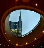 Modern design of new business centre constructed near Porta Garibaldi railway station in Milan. Stock Image