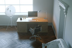 Modern design office cabinet in the morning light. 3d render. Stock Images