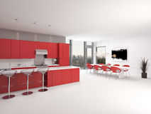 Modern design open plan red kitchen interior Stock Image