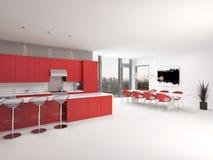 Modern design open plan red kitchen interior Stock Image
