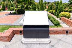 Modern design outdoor blank advertising panel in garden Royalty Free Stock Photos