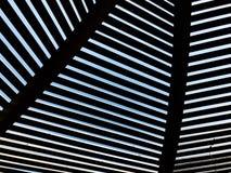 Modern design pergola arbor made wood with clear blue summer sky.  Stock Photos