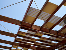 Modern design pergola arbor made wood and metal Royalty Free Stock Photography