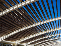 Modern design pergola arbor made wood and metal Royalty Free Stock Images