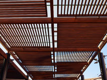Modern design pergola arbor made wood and metal Stock Photography