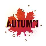 Modern design of the season fall poster. Autumn text on white background of a colored silhouette of a maple leaf. Decor. With geometric particles and retro stock illustration
