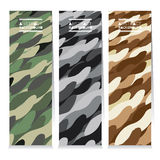 Modern Design Set Of Three Abstract Camouflage Vertical Banners Royalty Free Stock Image
