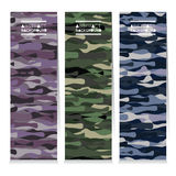 Modern Design Set Of Three Abstract Camouflage Vertical Banners Royalty Free Stock Images