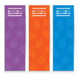 Modern Design Set Of Three Colorful Cupcakes Vertical Banners. Vector Illustration Royalty Free Stock Photos