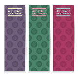 Modern Design Set Of Three Colorful Cupcakes Vertical Banners Stock Photos