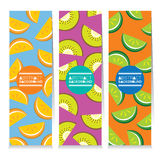 Modern Design Set Of Three Juicy Fruit Parts Vertical Banners Stock Photo