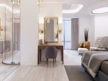 Modern Design Suite With Elegant Furnishings And An Open Bathroom And Bedroom Royalty Free Stock Image
