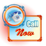 Modern design template for Call Now sign Stock Image