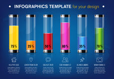 Modern design template for infographics with glass tubes Royalty Free Stock Images