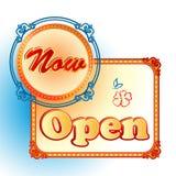 Modern design template for Now Open sign vector illustration