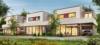 Modern townhouse with garages and terraces. Modern design townhouse with garages and terraces stock illustration