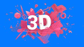 3D media card. Modern design trendy 3D composition with many different strange things and unexpected objects Stock Photos