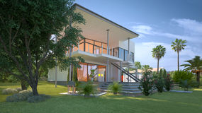 Modern design villa with a tropical garden. Tropical modern design villa view with garden and palm trees. Concept for a luxury lifestyle and richness stock photography