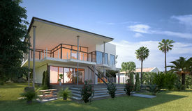 Modern design villa with a tropical garden. Tropical modern design villa view with garden and palm trees. Concept for a luxury lifestyle and richness. 3d stock photos