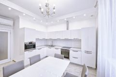 The interior of a modern apartment in white. Stock Photography