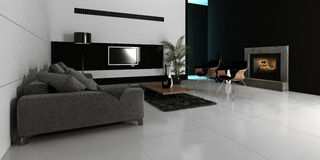 Modern design white living room interior Stock Photo