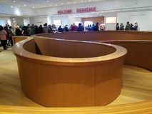 AGO hall. Modern design of wooden construction in a main hall of Art Gallery of Ontario  museum ago stock photos