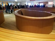 AGO hall. Modern design of wooden construction in a main hall of Art Gallery of Ontario  museum ago stock image