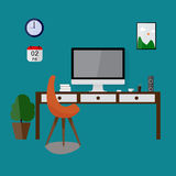 Modern design workspace vector illustration. Business chair Royalty Free Stock Photography