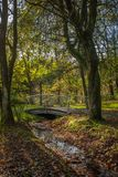 Bridging a Ephemeral Stream. A modern designed bridge crossing a seasonal runoff in a little parkland area Royalty Free Stock Photography