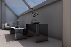 Modern designed furniture. View of modern designed interior, computer generated image Royalty Free Stock Photo