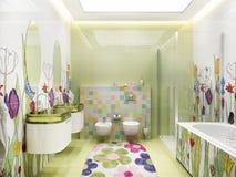Modern designer bathroom for children stock images