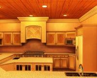 Modern Designer Kitchen with Soft Lighting Royalty Free Stock Photo