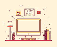 Modern designer work space linear style computer Royalty Free Stock Photo