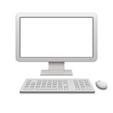 Modern Desktop Computer. With a blank widescreen monitor, wireless keyboard and mouse Stock Images