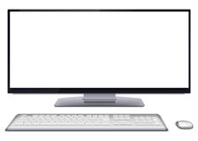 Modern desktop computer with blank screen. Modern monoblock desktop computer with blank white wide screen display, silver wireless mouse and keyboard. Vector royalty free illustration