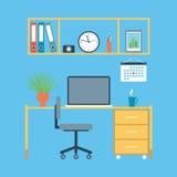 Modern desktop drawn in flat design Stock Photography