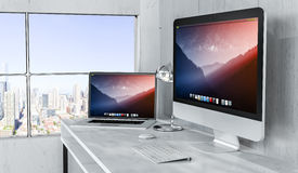 Modern desktop interior with computer and devices 3D rendering Royalty Free Stock Photography