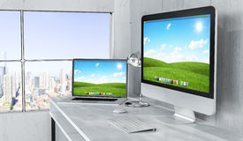 Modern desktop interior with computer and devices 3D rendering Royalty Free Stock Image