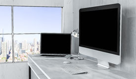 Modern desktop interior with computer and devices 3D rendering Stock Photos