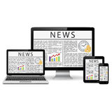 Modern desktop monitor, laptop, tablet and phone with news site screen Stock Photo