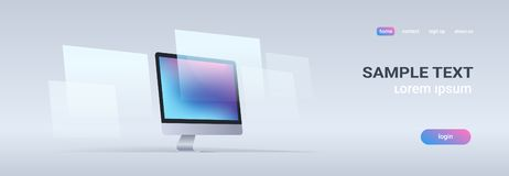 Modern desktop monitor workstation blank computer display digital technology concept gray background horizontal banner. Copy space vector illustration vector illustration