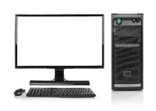 Modern desktop PC computer isolated. royalty free stock photography