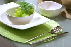 Modern dessert with grapes Royalty Free Stock Images